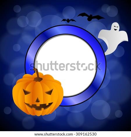 Abstract background blue black Halloween orange pumpkin bat ghost circle frame illustration  - stock photo