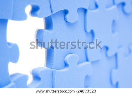 abstract background blue element puzzle - stock photo