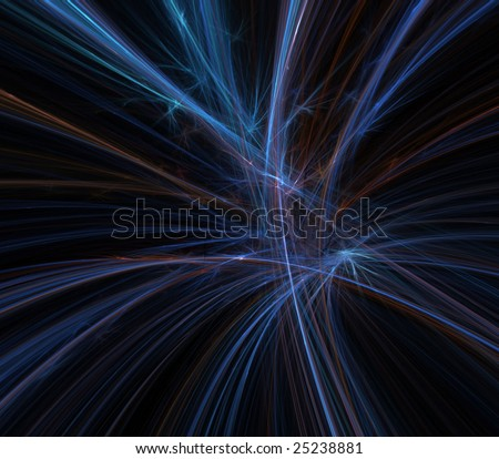 Abstract Background - Blue flowing, rough thread textures against black