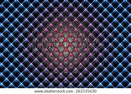 abstract background - blue plaid with red stain - stock photo