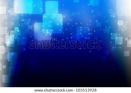 abstract background blue Square bokeh - stock photo
