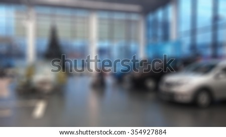 Abstract background blurred new cars dealership place theme - stock photo