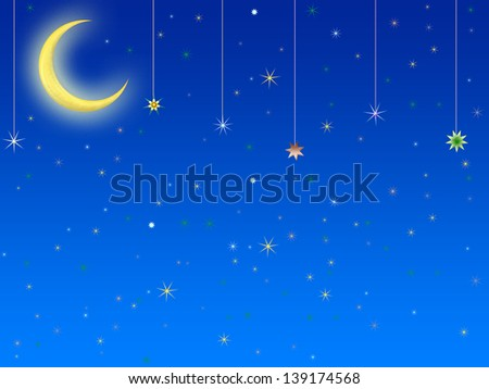 abstract background bright cartoon moon and stars