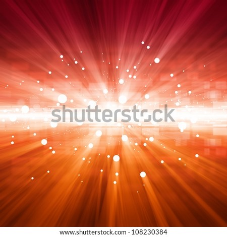 Abstract background - bright red lights with beams - stock photo