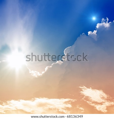 Abstract background - bright sun and star in sky - stock photo