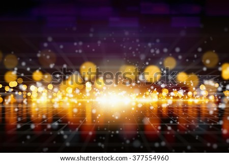 Abstract background - bright yellow lights with reflection, shiny sparkles, glowing horizon. - stock photo