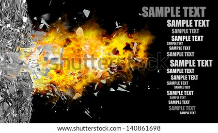 abstract background. broken glass and fire isolated on black. High resolution 3d render - stock photo