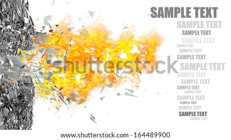 abstract background. broken glass and fire isolated on white background High resolution 3d  - stock photo