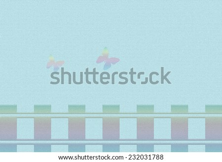 Abstract background butterflies on a blue background with the wooden fence. - stock photo