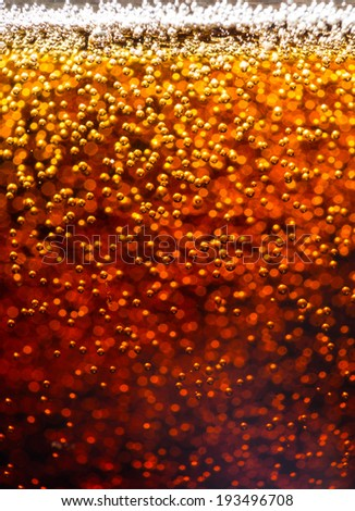 Abstract background. Cola. Carbon dioxide bubbles. Macro photo.  - stock photo