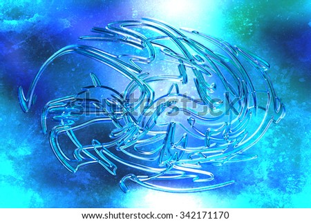 abstract background, color graffiti with grunge effect and glass effect - stock photo