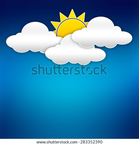 Abstract background composed of white paper clouds with sun over blue