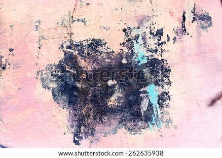 Abstract background concrete painted pink paint, weathered with cracks and scratches. Landscape style. Grungy Concrete Surface. Great background or texture. - stock photo