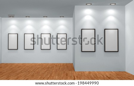 Abstract background. 3D render. Picture frames or photos in art gallery - stock photo