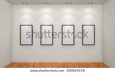 Abstract background. 3D render. Picture frames or photos in art gallery