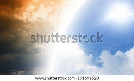 Abstract background - dark and blue sky with sun, heaven and hell - stock photo
