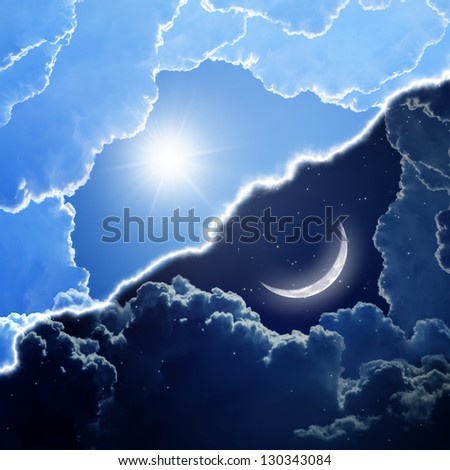Abstract background - day and night, sun and moon, opposites. Elements of this image furnished by NASA - stock photo
