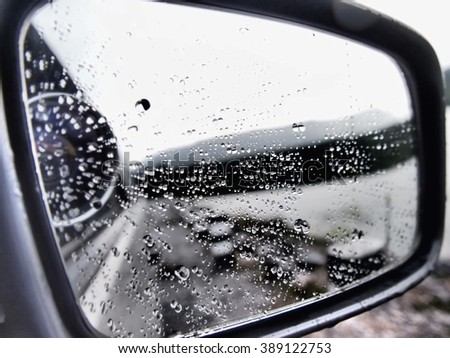 Abstract background, De-focused rain drops on the wing mirror.