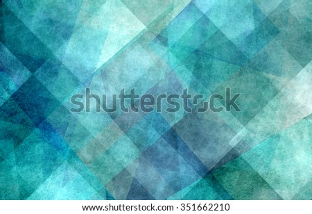 abstract background design, geometric lines angles shapes in white layers of transparent material on green and teal blue background color - stock photo