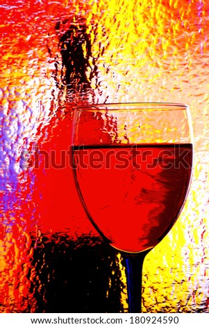 Abstract background design made from an  wine glass  and bottle. - stock photo