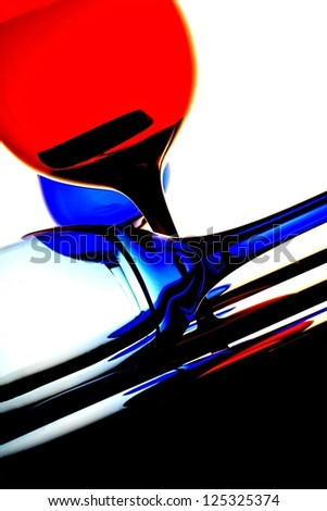 Abstract background design made from  empty  wine glasses - stock photo