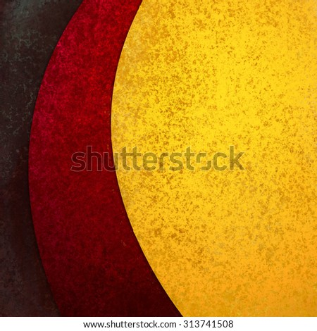 abstract background design with curves and waves in red gold and black - stock photo
