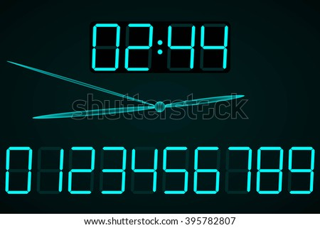 Abstract Background. Digital Clock for Your Design. Raster Illustration