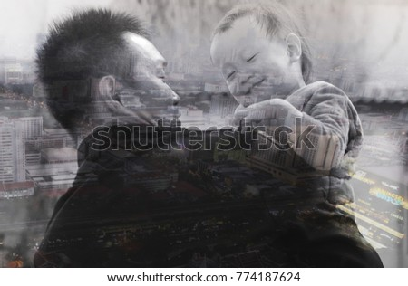 abstract background. Double exposure.silhouette of a Asian father hold up his daughter on the country road under sunset. background of father's day