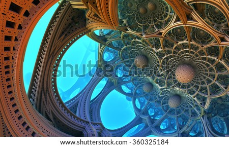 Abstract background, fantastic 3D structures. - stock photo