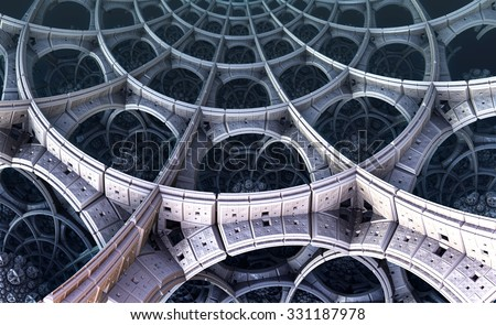 Abstract background, fantastic 3D  structures, fractal design. - stock photo