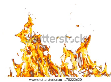 abstract background. flame fire on a white background - stock photo