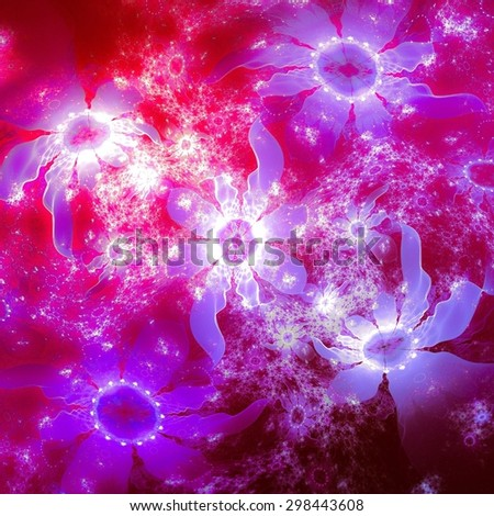 Abstract background, floral motifs, bright color palette - stock photo