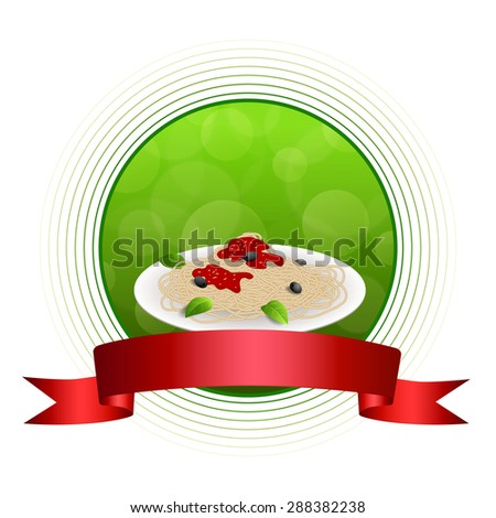 Abstract background food pasta spaghetti white Italy green red yellow circle frame ribbon illustration  - stock photo