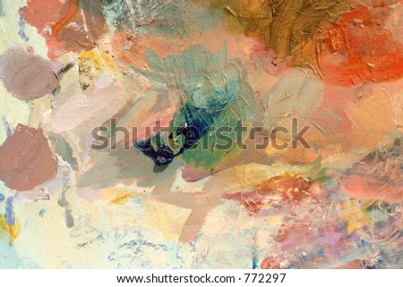 abstract background from a well used paint palette
