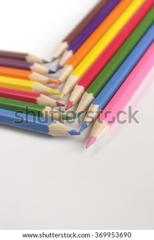 Abstract background from color pencils, shallow dof - stock photo