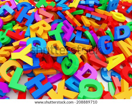 Abstract Background from Colorful Letters. Education Concept