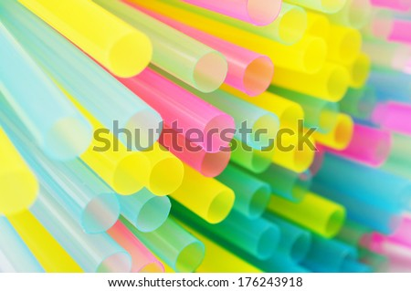 abstract background from colorful plastic straws - stock photo