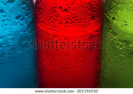 abstract background from selective focus of close up water condense on the cool colorful drink - stock photo