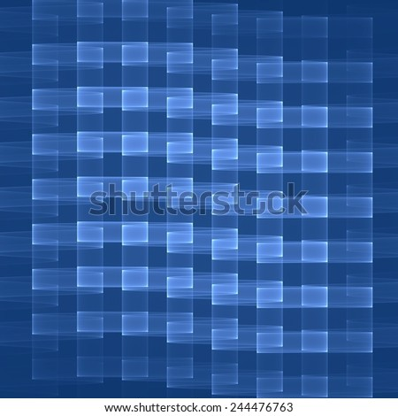 Geometric Pattern In Blue Colors Digital Art Blockchain Concept