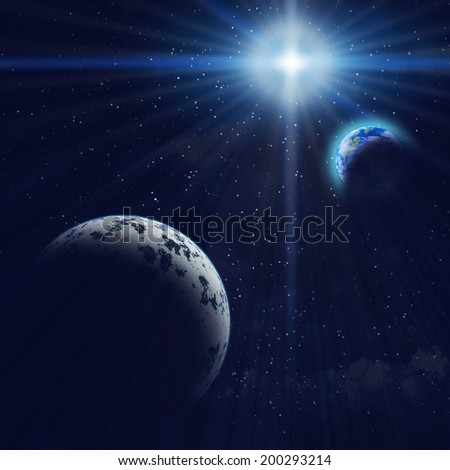 Abstract background - Gigantic blue planet and Earth in space. Stars, galaxy, bright rays of sun. Elements of this image furnished by NASA. - stock photo
