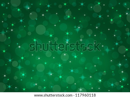 abstract background green bokeh circles and stars - stock photo