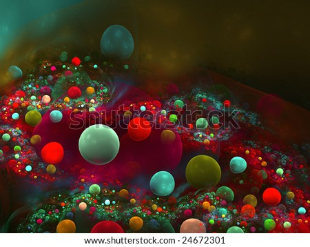 Abstract background. Green - red palette. Raster fractal graphics.