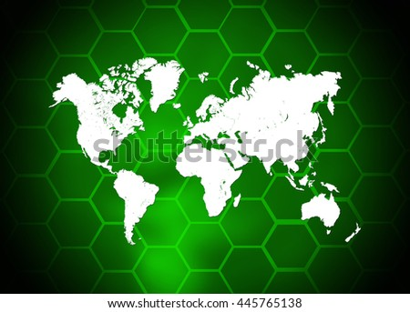 Abstract background. Hexagons with green backlight - stock photo