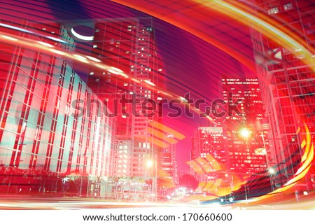 Abstract background illustration of fast traffic motion in  a city at night. Photos of Miami Florida used in the design are from my collection. - stock photo
