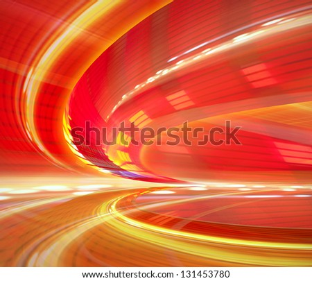 Abstract background illustration, speed motion in urban highway road tunnel, blurred motion toward the light. - stock photo