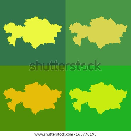 Abstract background illustration with map - Kazakhstan