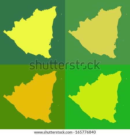 Abstract background illustration with map - Nicaragua