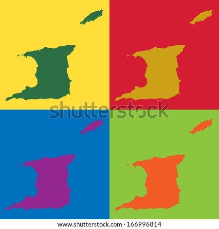 Abstract background illustration with map - Trinidad and Tobago