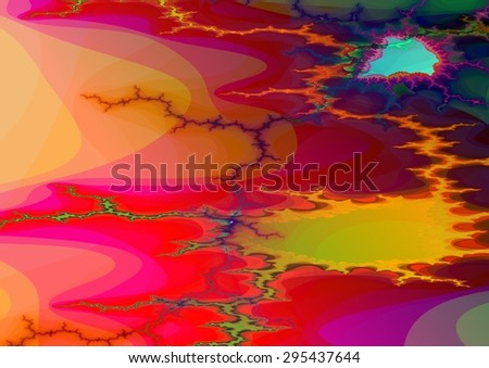 Abstract background in A3 format (standart European size). Red orange pattern with shining turquoise element in diamond shape. Digitally rendered fractal. - stock photo