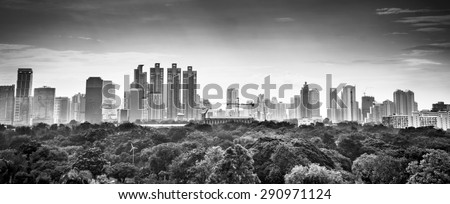 Abstract background  in black and white tone of Top view of Bangkok Thailand with garden